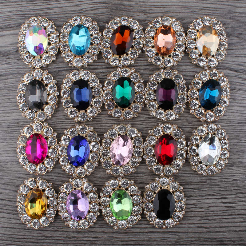 10PCS 19colors Bling Oval Rhinestone Buttons for Jewelry Findings Alloy  Flatback Crystal Beads for Wedding Embellishment cf4830a770b5