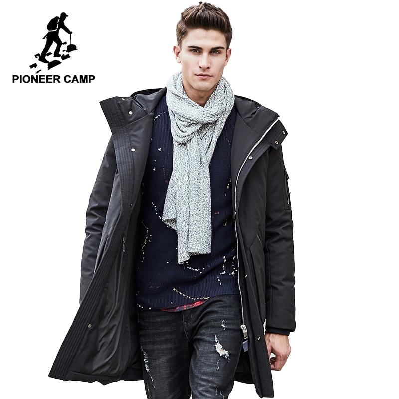 Pioneer Campo di inverno lungo giù giacca giovane abbigliamento di marca degli uomini con cappuccio di Spessore del 90% piume d'anatra Bianca giù cappotto Maschile