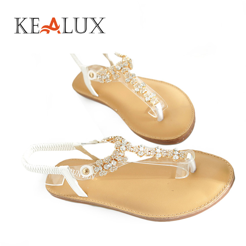 KEALUX Women Fashion Crystal Flat with Summer Sandals Solid T-Strap PU Slip-On Casual Shoes Sommer Schuhe Damen lastest women summer sweet sandals slipper fashion solid color suede flower bow hasp flat heel square toe sandals schuhe damen