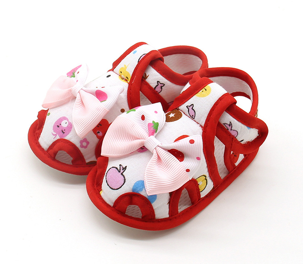 Newborn Infant Baby Girls Shoes Summer Bow Soft Sole Toddler Anti-slip Baby First Walker Shoes Baby Girl Shoes