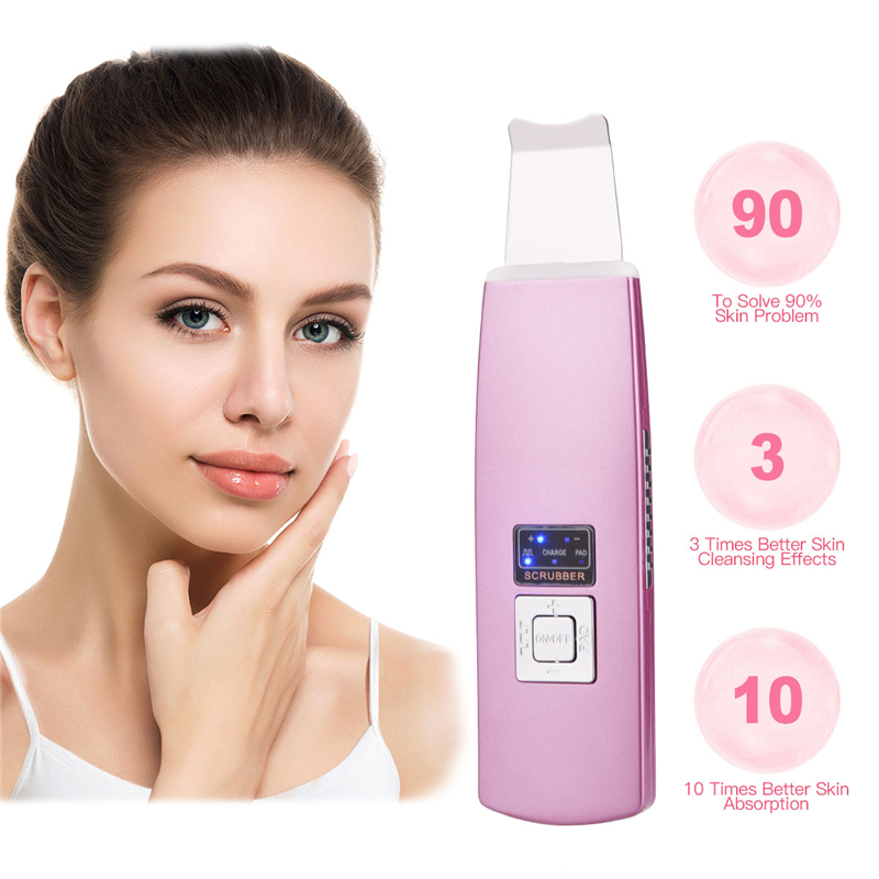 Ultrasonic Ion Skin Scrubber Rechargeable Microdermabrasion Deep Clean High Frequency Vibration Face Peeling Massager Skin Spa portable skin massager ultrasonic vibration beauty instrument electric slimming massager whitening face skin wrinkles removal