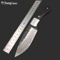 Swayboo Straight Handmade Forged Damascus Steel Pattern Hunting Knife Fixed Blade Knife 58HRC Ebony Handle