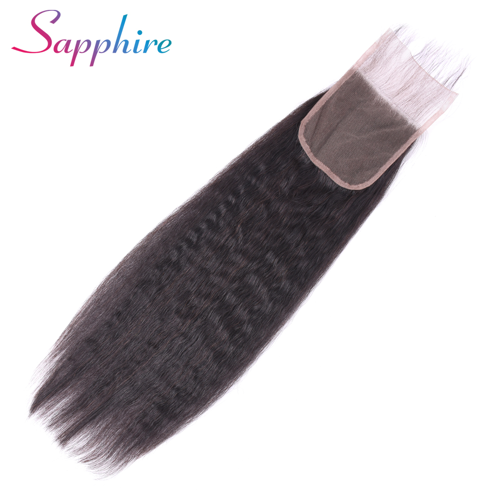 Sapphire Malaysia Kinky Straight Hair Closure 4x4 Non Remy Human Hair Free Part Lace Closure Bleached Knots With Baby Hair