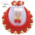 Laanc opaca único orange coral boda nigeriano beads africanos joyería conjunto cristal encontrar oro c2422