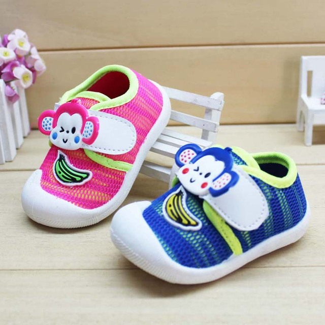2016 Baby Cartoon Monkey Shoes Cute Monkey Pattern for Boy Female Baby Toddler Casual Shoes Baby Boy Girl Sport Shoes Autumn