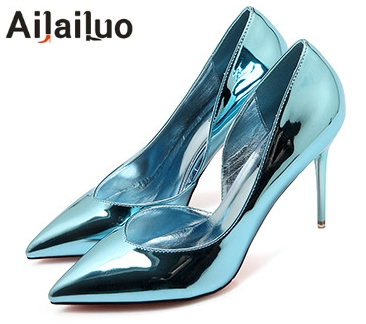 Hot 2019 Spring Autumn Women Pumps Sexy Gold Silver High Heels Shoes Fashion  Pointed Toe Wedding 04048c0ff68f