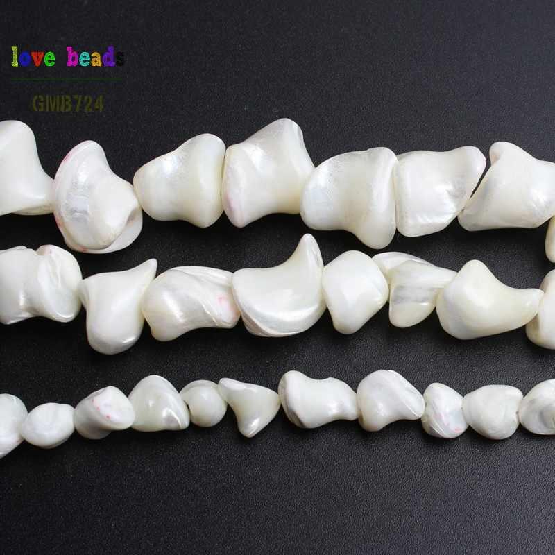 Натуральный белый перламутр СС нерегулярные бусины для самостоятельного изготовления ювелирных изделий браслет ожерелье S/M/L 15 дюймов/strand