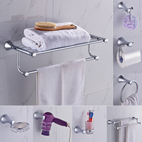 AUSWIND Contemporary 304 stainless steel bathroom products polish silver simple hardware set wall mount bathroom accessories