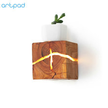 Artpad Japanese Square Wood Wall Lamp with G4 Stip Led Dark and Light Brown Sconces Living Room Corridor Bedside Bright Lighting