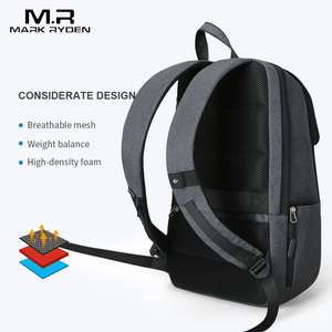 Image 2 - Mark Ryden adam sırt çantası USB şarj 15.6 inç dizüstü okul çantası erkek için erkek seyahat Mochila su geçirmez