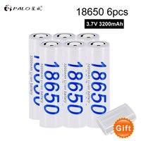 PALO 6pcs/lot Battery 100% Original 18650 NCR18650B 3200 mAh Li ion Rechargeable Battery For Panasonic Flashlight batteries