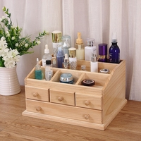 Home solid wood cosmetics storage box handmade high end jewelry box wooden large drawer sorting box locker