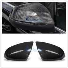 цены Door Mirror Overlay Rear View Cover Carbon Fiber Color Rearview Trim 2016 2017 2018 Chrome Car Styling For Audi Q7 Accessories