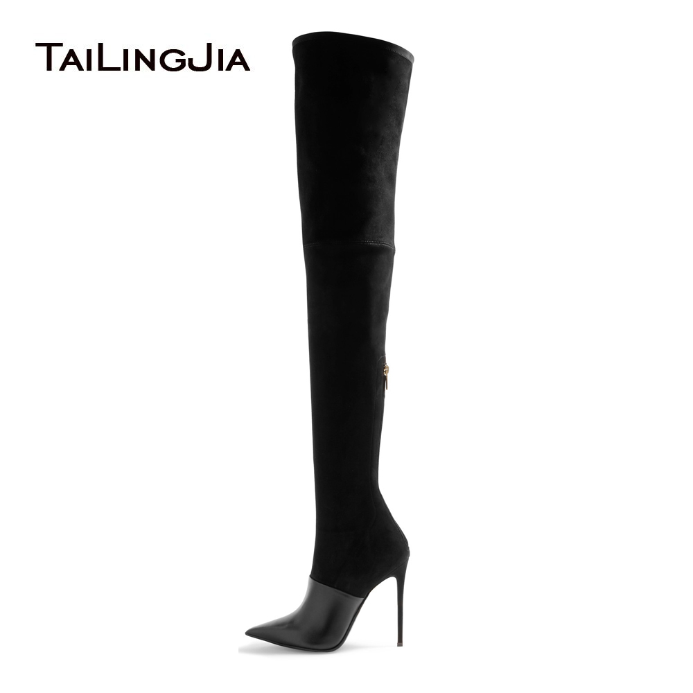 Women's High Heel Pointed Toe Black Over the Knee Thigh High Boots Ladies Camel Stretch Suede Spring Autumn Shoes Large Size