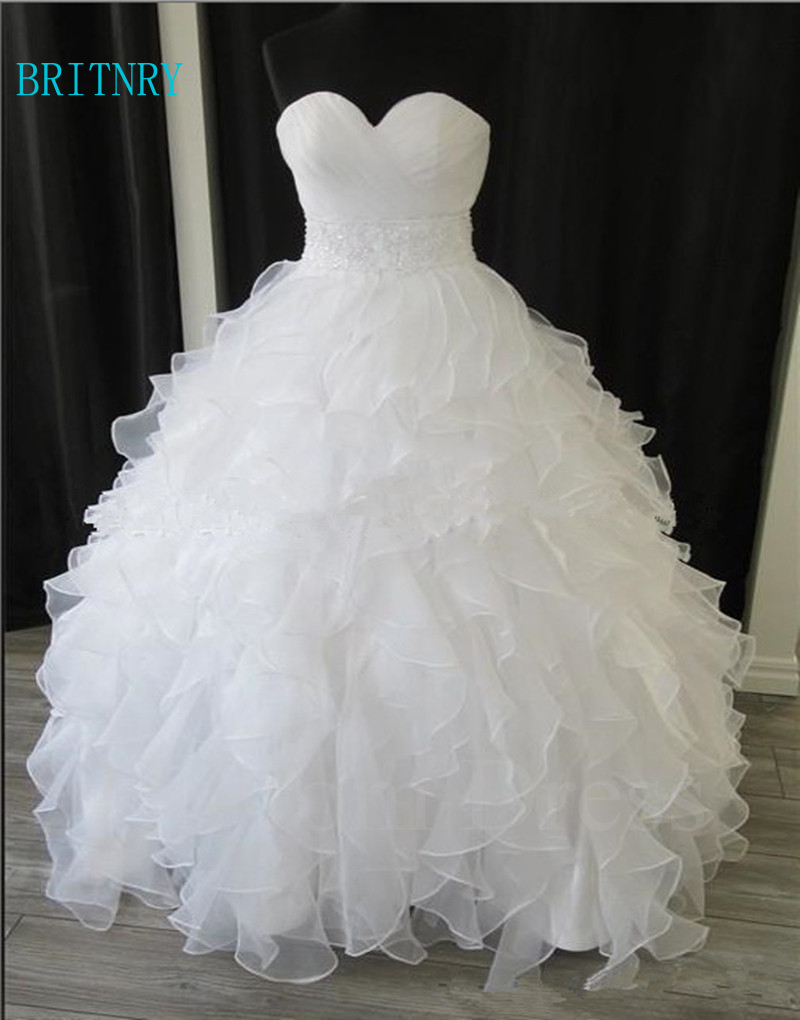 BRITNRY Elegant Ball Gown Wedding Dresses Sweetheart Organza Plus Size Wedding Gowns Beading White Wedding Dress