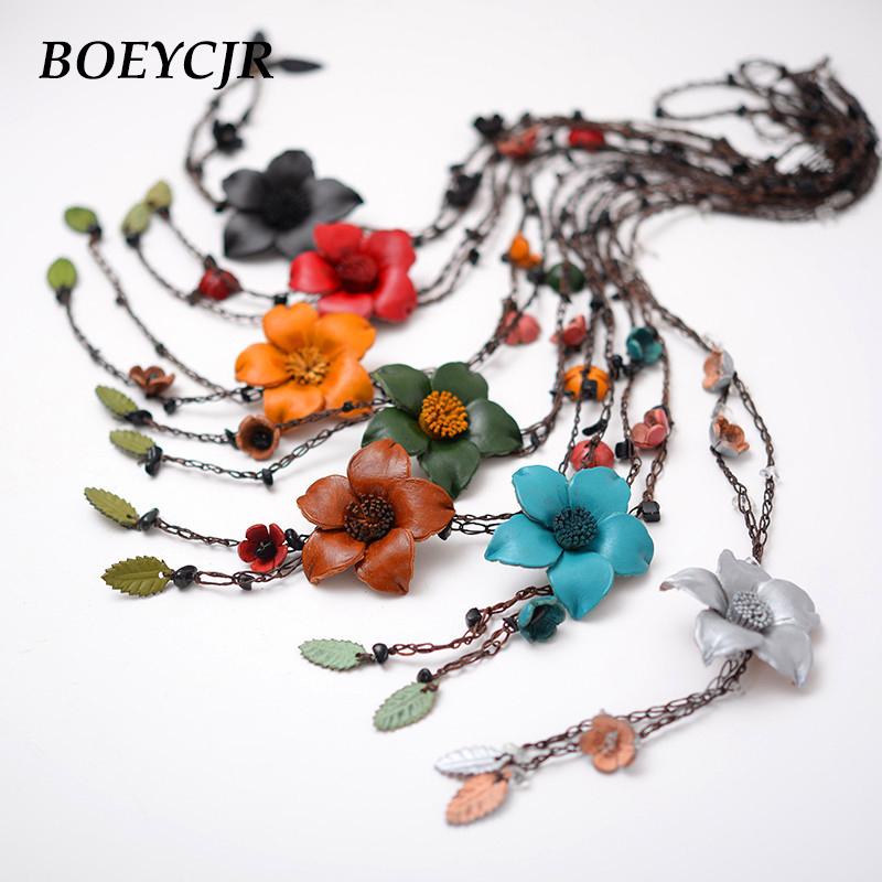 BOEYCJR 7 Color Available Vintage Leather Flower Pendant Necklace Rope Chain Jewelry Ethnic Pendant Necklace for Women Gift 2018 boeycjr yoga jewelry meditation wood necklace chain handmade jewelry ethnic pendant necklace for men and women gift 2018