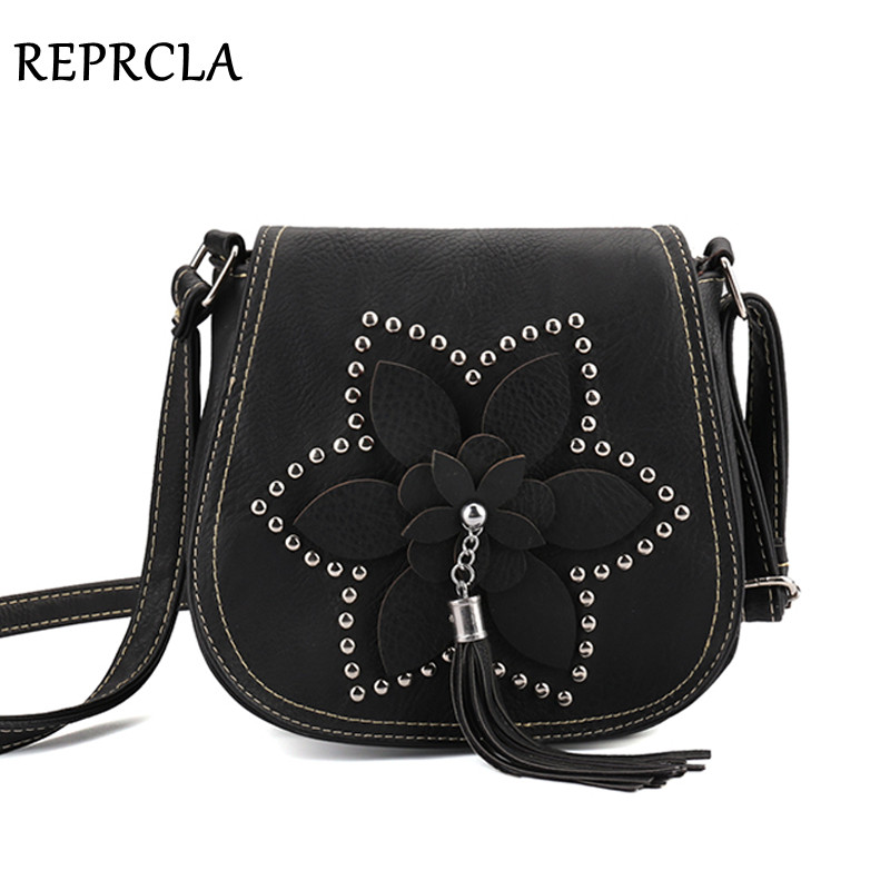REPRCLA Brand Designer Tassel Women Bags Rivet Flower Crossbody Bags PU Leather Female Messenger Shoulder Bags Sac A Main