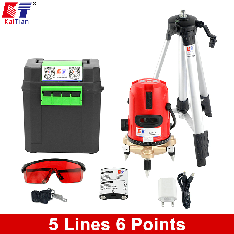 Kaitian 5 lines 6 points 360 Rotary 635nm Self leveling Laser Level outdoor Tilt slash Vertical Horizontal lines Beam Tripod rotosound bs9 strings stainless steel