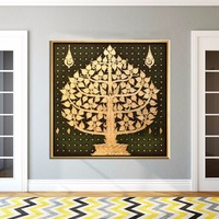 Newest Handmade Abstract Gold Bodhi Leaves Paintings on Canvas Southeast Asia Style Tree Oil Painting for Room Decor Artwork