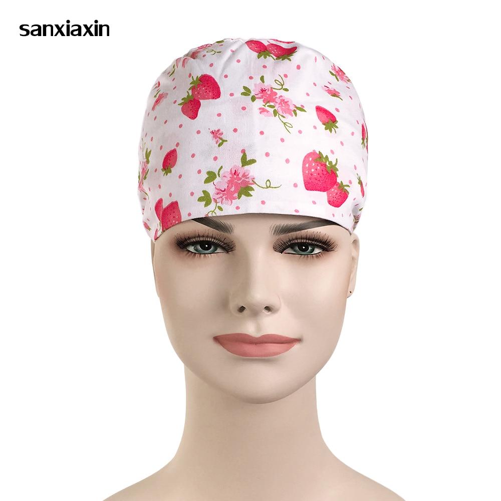 Hospital Strawberry Printing Surgical Cap For Women Nurse Medical Hat Adjustable Tie Back Skull Surgical Work Medical Cap Cotton