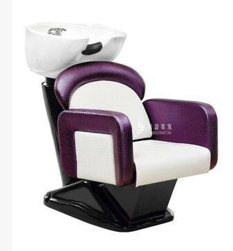 Hair Salon Seated Flush Bed. Ceramic Basin Barbershop Half Lying Type Mobile. Shampoo Chair