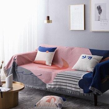 INS покрывало для дивана, хлопковое уплотненное одеяло с кисточкой, пляжное полотенце, линия, одиночное офисное одеяло, толстая кровать, фирм...