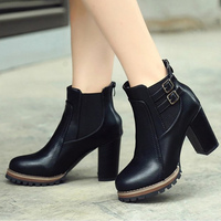 Shoes Woman Belt Buckle Old Style Ankle Boots For Women Solid Black Brown Female Boot High