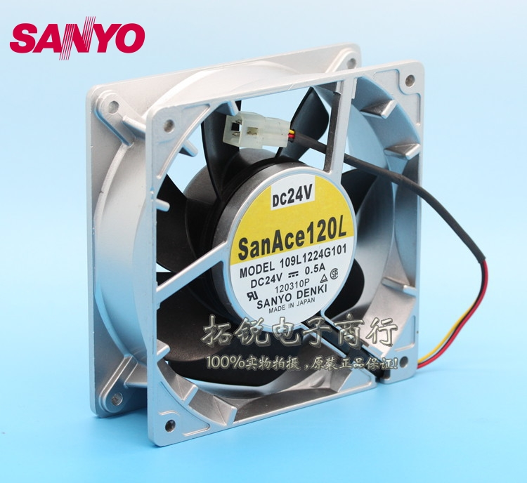 SANYO  New 12CM 109L1224G101 24V 0.5A 12038 inverter cooling fan for  120*120*38mm delta 12038 fhb1248dhe 12cm 120mm dc 48v 1 54a inverter fan violence strong wind cooling fan