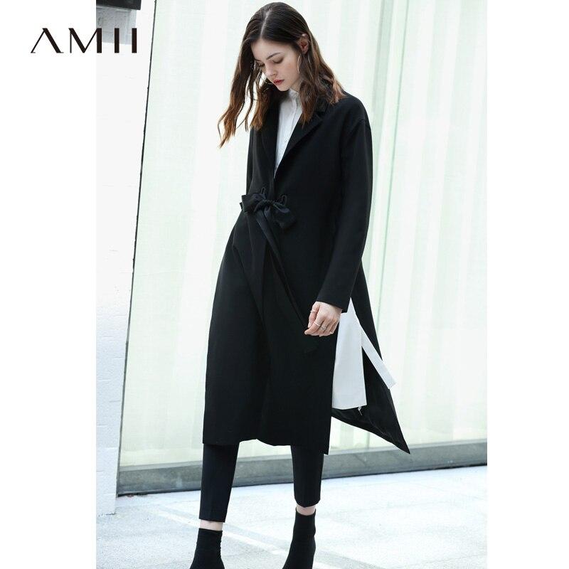 Amii Women Minimalist 2019 Autumn   Trench   Coat Chic Office Lady Adjustable Waist Slits Female   Trench   Coats