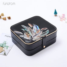 Feather Jewelry Cosmetic Box Organizer Display Travel Makeup Case Boxes Portable Jewelry Box new arrive hot 2pc set portable jewelry box make up organizer travel makeup cosmetic organizer container suitcase cosmetic case