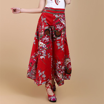 2018 Beautiful High Quality Female Clothes Summer Print Linen Wide Leg Women's Trousers Trend National Bohemia Culottes Pants