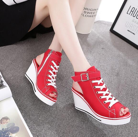 New Fashion Womens Sandals Canvas Shoes Peep Toe Wedges Shoe Lady Lace Up aa0104 in High Heels from Shoes