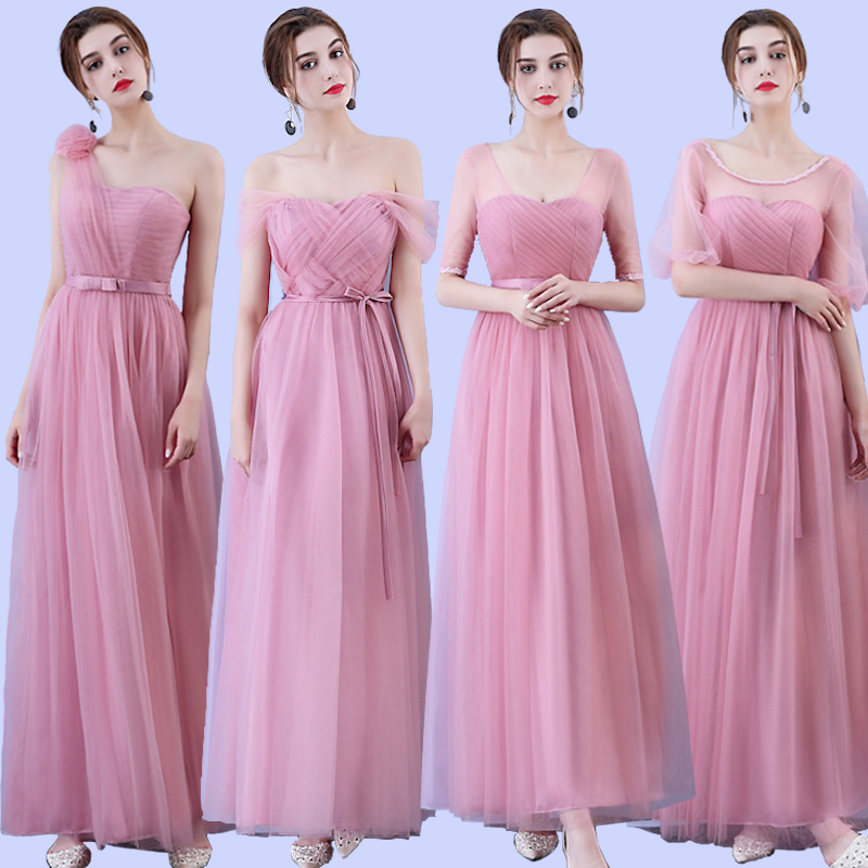 Holievery Blush Pink Long Tulle   Bridesmaid     Dresses   Lace Up Wedding Party   Dress   with Pleats 2019 robe demoiselle d'honneur