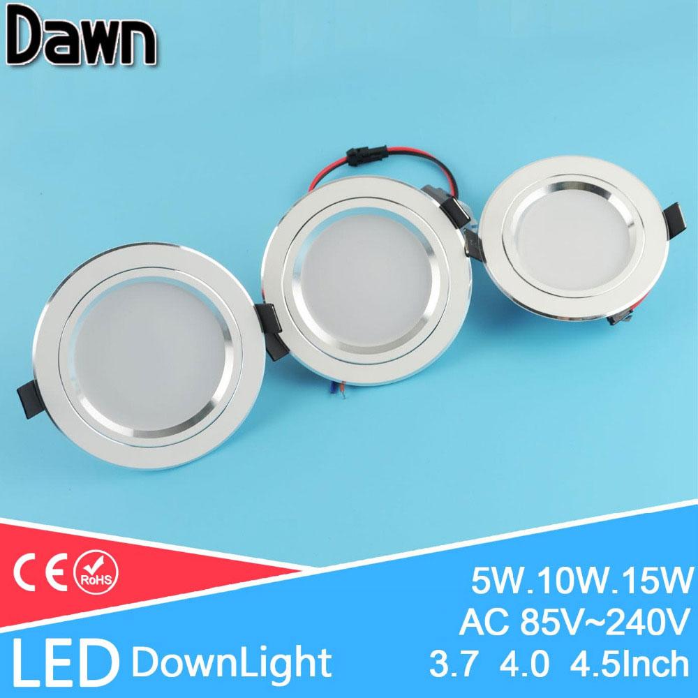 Silber weiß gefrostet led downlight 5 watt 10 watt 15 watt runde deckeneinbauleuchte 110 v 220 v unten licht lampe küche restaur