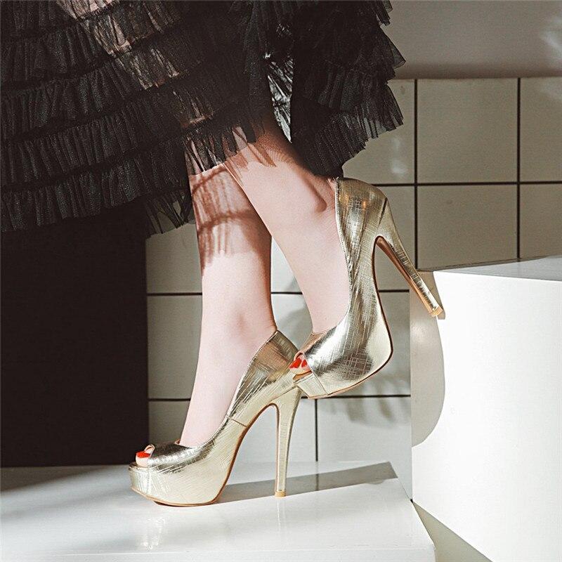 Peep Toe Sur Femmes Or Argent argent Parti Ymechic Talons Mariage Hauts D'été Mariée De rose Dame Chaussures 2018 3448 Or Slip rouge À L'extrême Souliers 29WHYeDIE