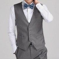 Slim Fit Grey Groom Vests Groomsmens Best Man Vest Custom Made Formal Vest Wedding/Prom/Dinner Waistcoat