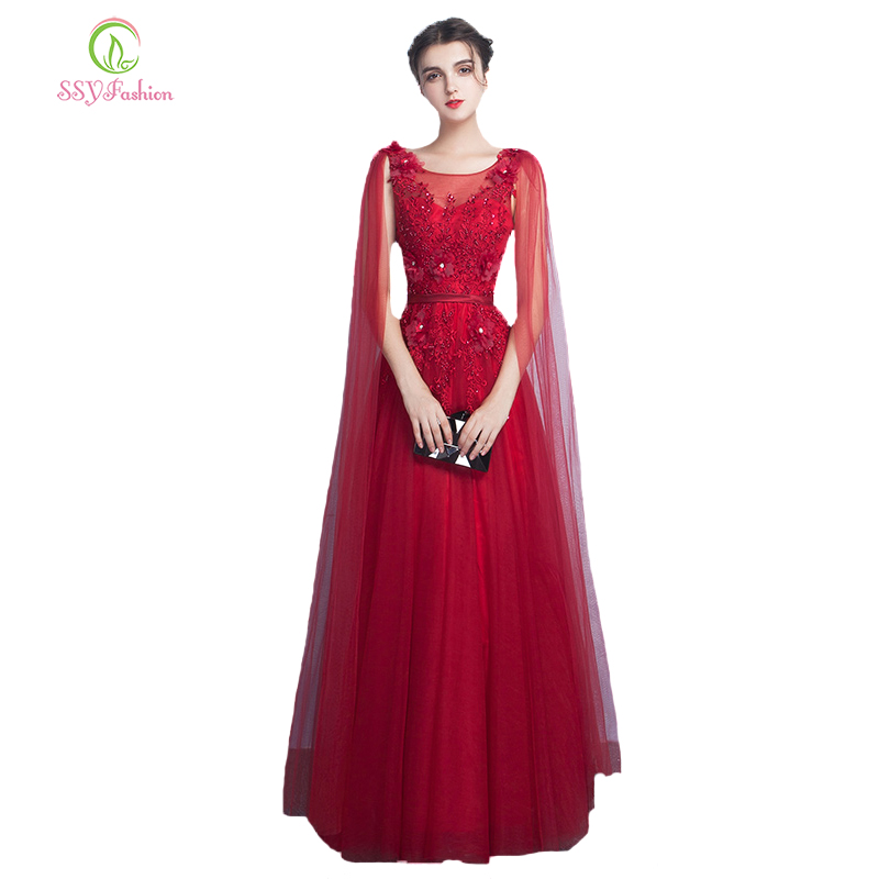 New   Evening     Dress   SSYFashion Wine Red Lace Flower Floor-length Long Formal   Dresses   Bride Banquet Elegant Party Gown Custom