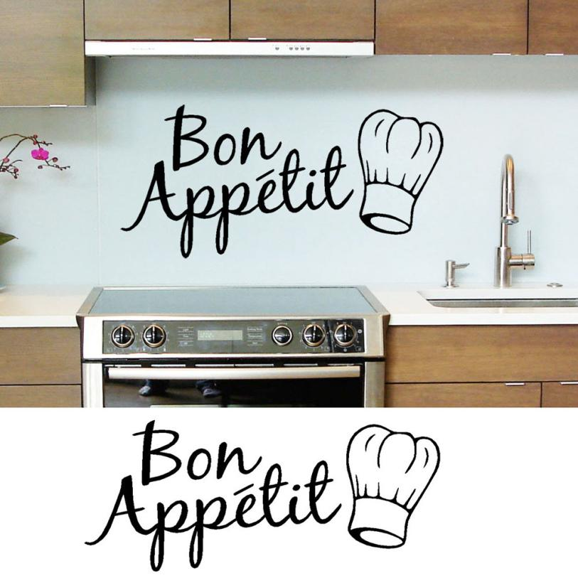 1pc Vinyl Wall Stickers Quote Bon Appetit Dinning Room Decor Kitchen Decals Art English Letter Wall