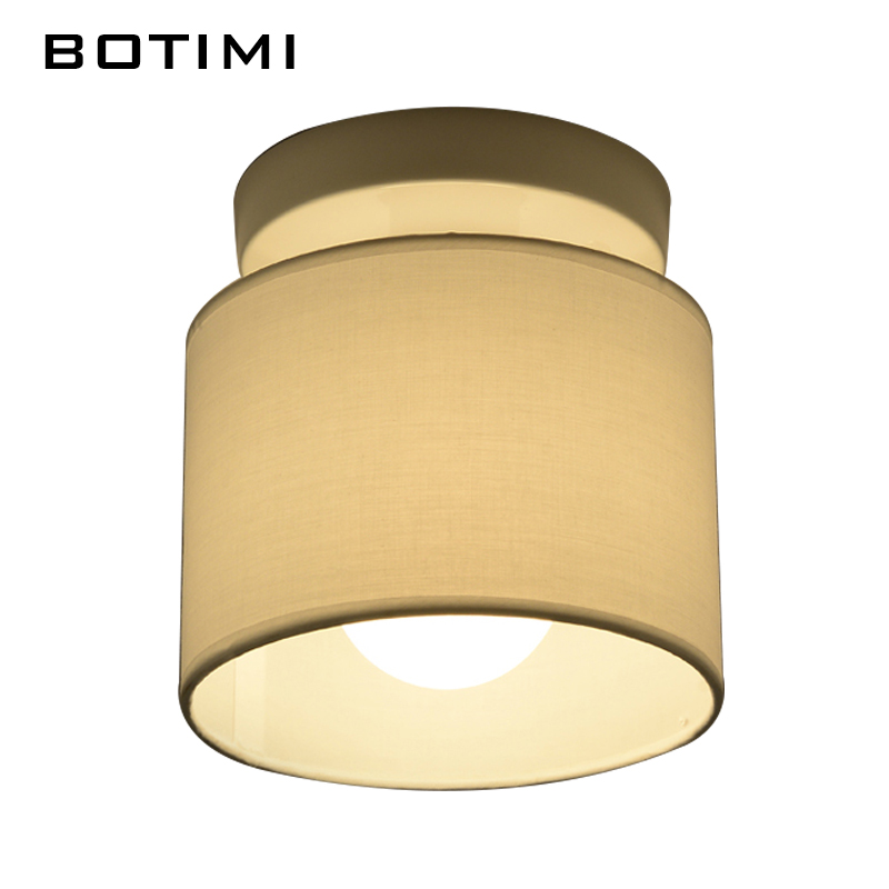 Botimi Warm Ceiling Lamp Fabric Lampshade Corridor Lamparas De Techo Cloth Surface Mounted Indoor E27 Home Lighting Fixtures Lights & Lighting