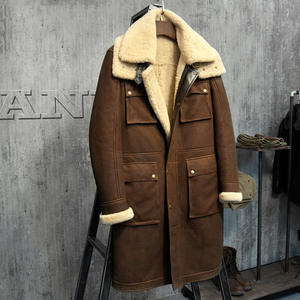Shearling Coat Sheepskin-Jacket Military-Style Luxury Parka. Light Men's Black And Fur