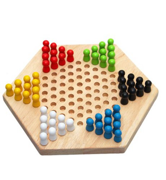 Traditional Hexagon Wooden Chinese Checkers Family Game Set ...