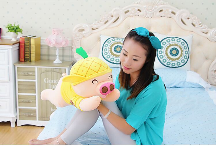 new plush yellow  pig toy cuddly toy stuff lying pineapple pig doll valentine's day gift about 60cm декор cir new york inserto bloom central park s2 10x20