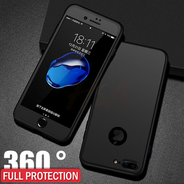 H&A Luxury 360 Protective Case For iPhone 7 6 6s Plus Full Hard PC Phone Case For iPhone 8 6 6s 7 Plus Cover With Tempered Glass 1