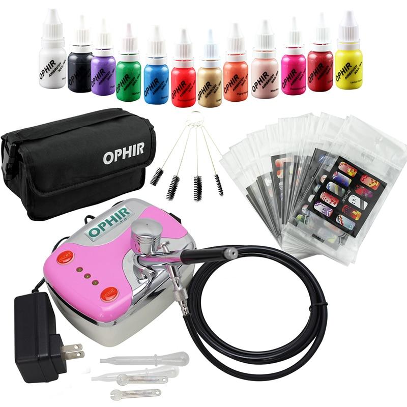 Ophir 0 3mm prego airbrush kit com compressor de ar 12 tintas de unhas 20x arte