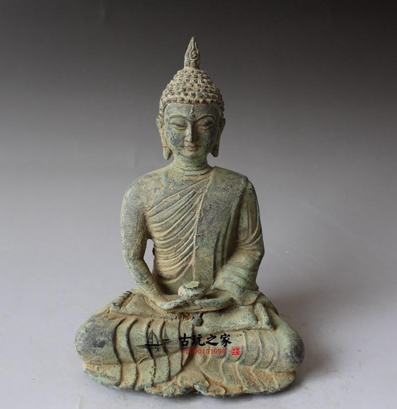 RARE Old Chinese Buddhist Fengshui Iron Carved Shakya Muni Buddha head Statue