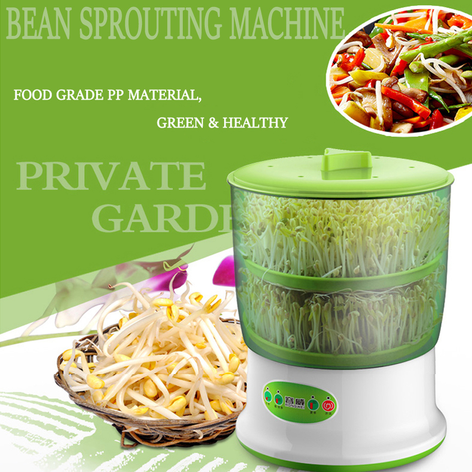 New Intelligence Bean Sprouts Machine Nursery Pots Seedling Box Propagator Heated Thermostat Automatic Bean Sprouting Machine bean sprout machine germination intelligence home double layer nursery pots automatic bean sprouts machine kitchen electrical