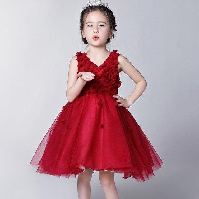 Borgoña vestidos de niña kids chica ropa de vestir para chicas ...