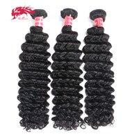3 шт. глубокий волны бразильский пучки волос плетение Remy Инструменты для завивки волос человеческих волос Natural Цвет # 1B Али Queen Hair продукты
