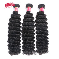 3Pcs Deep Wave Brazilian Hair Weave Bundles Remy Hair Weaving Human Hair Extension Natural Color #1B Ali Queen Hair Products