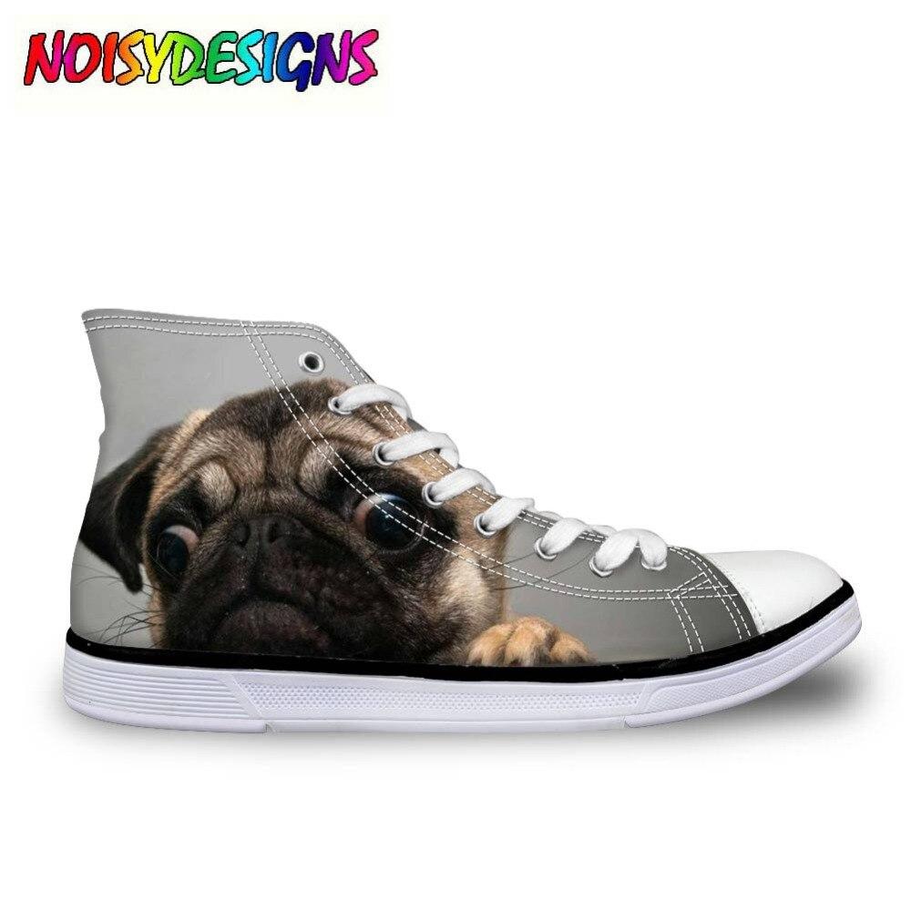 Французские бульдоги, милые женские парусиновые туфли с высоким берцем на шнуровке, Вулканизированная обувь, женская повседневная обувь дл